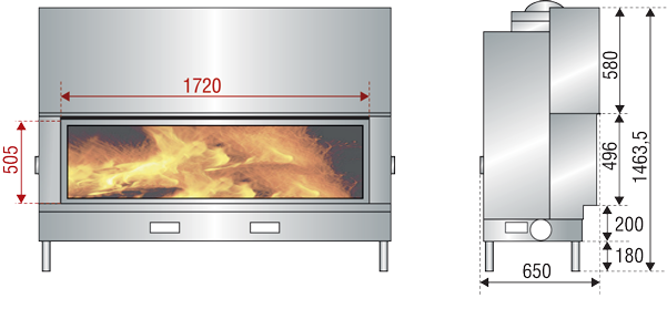 design fireplaces AXIS scheme H1600XXL