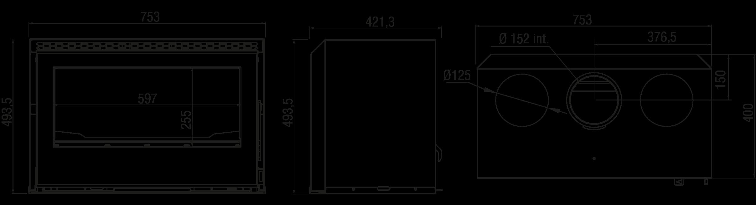 Esquema de AXIS Diseño chimeneas INSERT 650