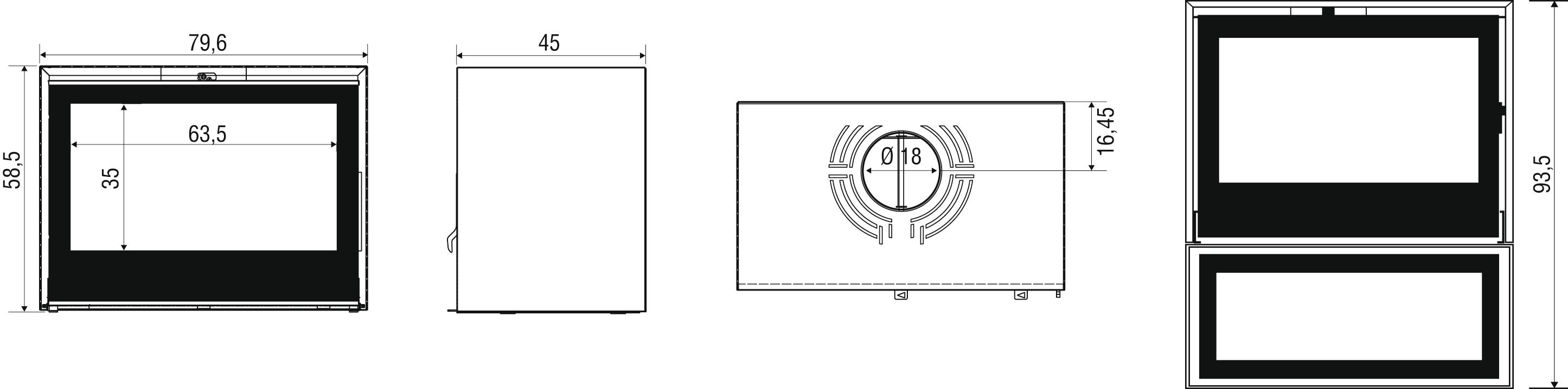 Cheminées Design AXIS schema I800P